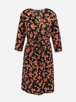Oranžovo-čierne kvetované šaty VERO MODA Grace