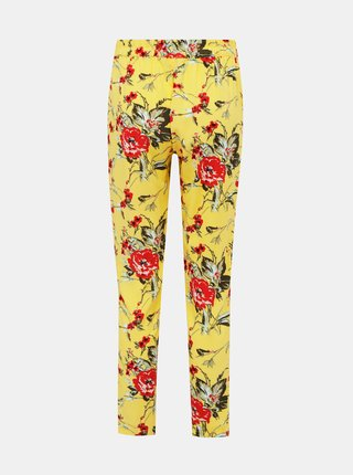 Žlté kvetované nohavice VERO MODA Simply