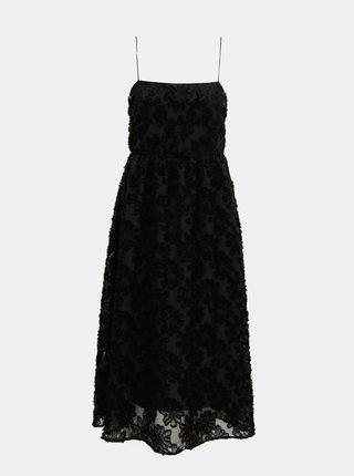 Čierne krajkové midišaty AWARE by VERO MODA Kaya