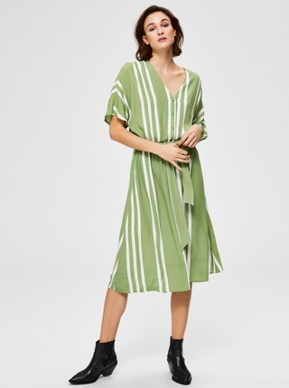 Zelené pruhované midišaty Selected Femme Vienna