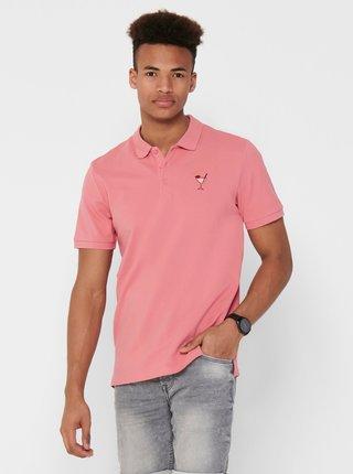 Růžové polo tričko ONLY & SONS
