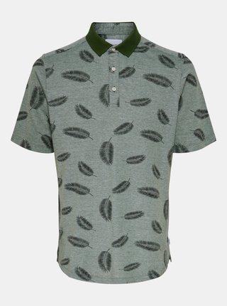 Zelené vzorované polo tričko ONLY & SONS