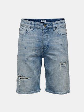 Modré džínové kraťasy ONLY & SONS