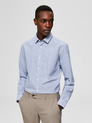 Světle modrá slim fit košile s příměsí lnu Selected Homme Linen