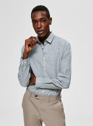 Šedozelená slim fit košeľa s prímesou ľanu Selected Homme Linen