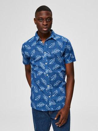 Modrá vzorovaná košeľa Selected Homme