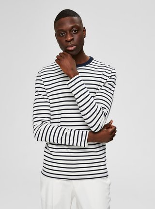 Modro-bílé pruhované basic tričko Selected Homme