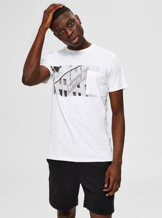 Biele tričko s potlačou Selected Homme