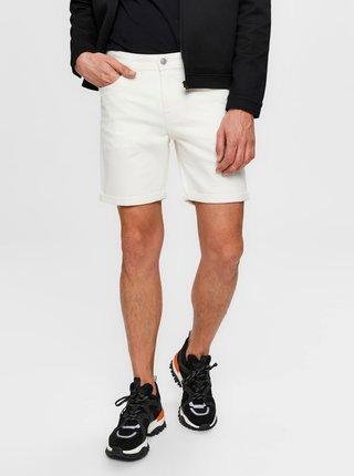 Bílé džínové kraťasy Selected Homme