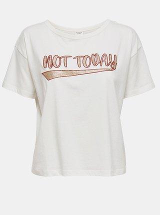 Bílé krátké tričko s potiskem Jacqueline de Yong Fang