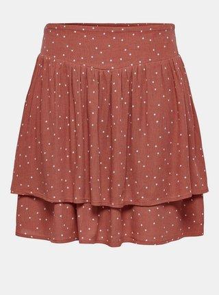 Hnědá puntíkovaná sukně Jacqueline de Yong Caro