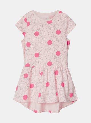 Ružové dievčenské bodkované šaty name it