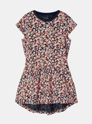 Modro-ružové dievčenské kvetované šaty name it