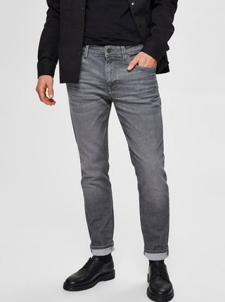 Šedé slim fit džíny Selected Homme Leon