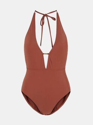 Hnědé jednodílné plavky Pieces Naba