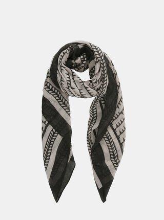 Černo-šedý vzorovaný šátek Pieces Amalie