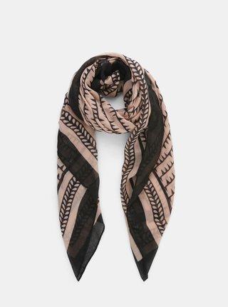 Černo-růžový vzorovaný šátek Pieces Amalie