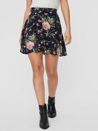 Tmavomodrá kvetovaná sukňa VERO MODA Simply