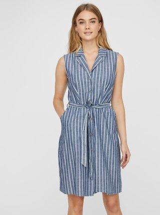 Modré pruhované košilové šaty VERO MODA Sandy