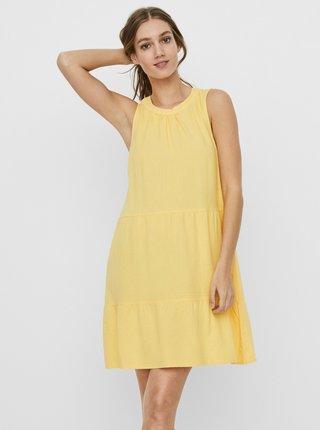 Žluté lněné volné šaty VERO MODA Helen