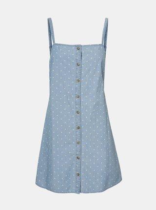 Světle modré puntíkované  šaty VERO MODA Mascha