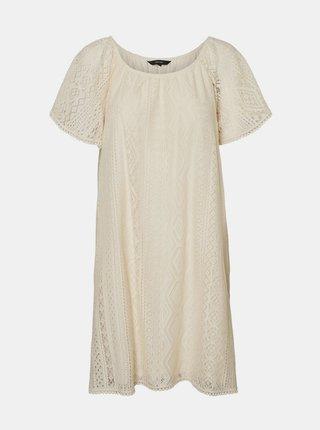 Krémové krajkové voľné šaty VERO MODA Lea