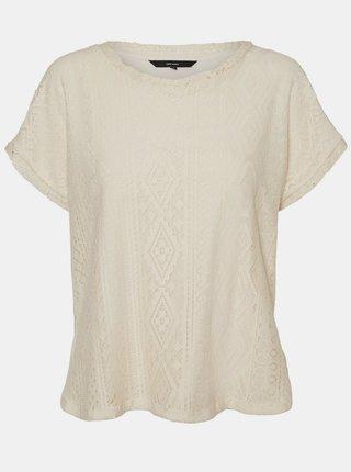 Krémové krajkové volné tričko VERO MODA Oleaava