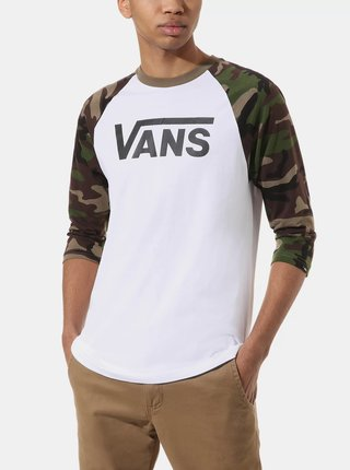 Zeleno-biele pánske tričko VANS