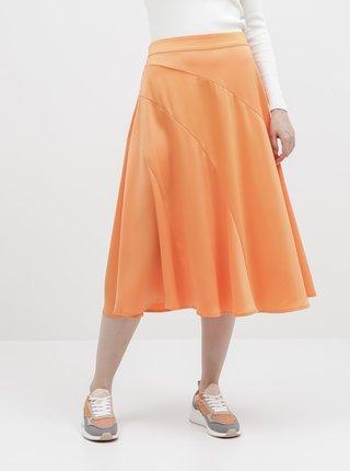 Oranžová saténová midi sukně VERO MODA Gabbi