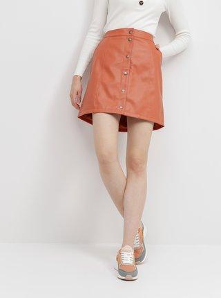 Oranžová koženková sukně VERO MODA Conneryray