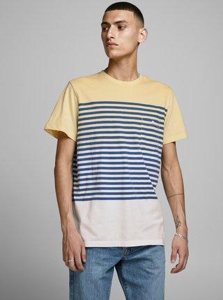 Žluté pruhované tričko Jack & Jones Grade
