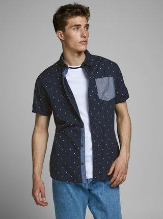 Tmavomodrá vzorovaná košeľa Jack & Jones Mars