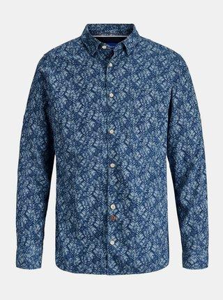 Modrá vzorovaná košeľa Jack & Jones Finley