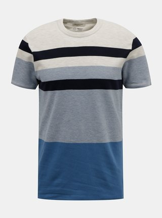 Modré pruhované tričko Selected Homme