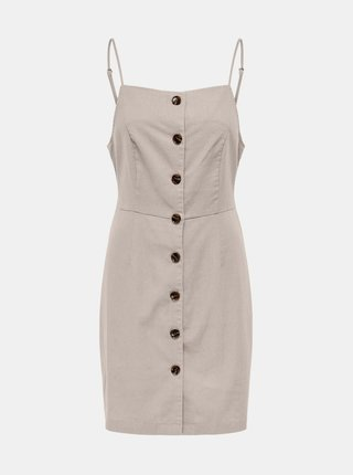 Béžové šaty s příměsí lnu ONLY Ember