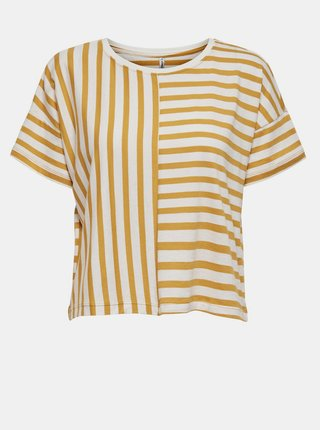Bílo-žluté pruhované volné tričko ONLY Marie