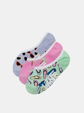 Sada troch párov dievčenských ponožiek v ružovej a modrej farbe VANS
