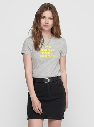 Šedé tričko s potlačou ONLY Clara