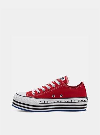Červené dámské tenisky na platformě Converse Chuck Taylor All Star