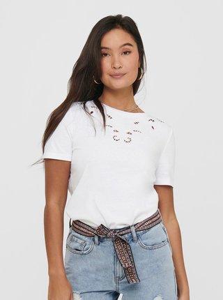 Bílé tričko s výšivkou ONLY Theresa