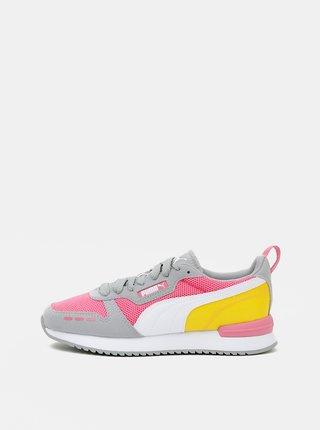 Šedo-růžové dámské tenisky se semišovými detaily Puma
