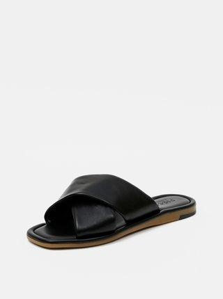 Černé kožené pantofle Pieces Audrey
