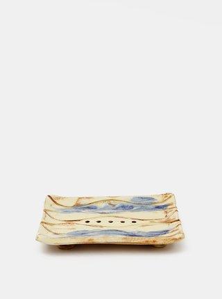 Modro-krémová keramická mýdlenka Almara Soap Navy