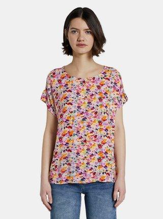 Růžové dámské květované tričko Tom Tailor Denim
