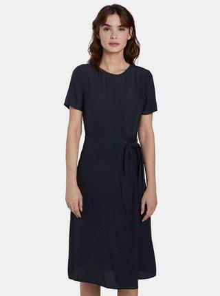 Tmavomodré zavinovacie šaty Tom Tailor