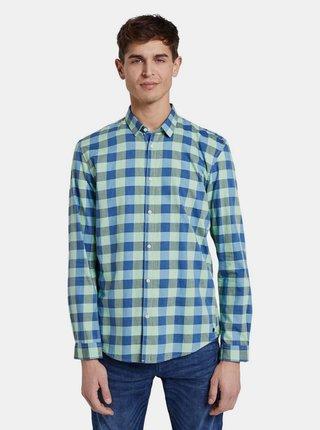 Modro-zelena pánska kockovaná košeľa Tom Tailor Denim