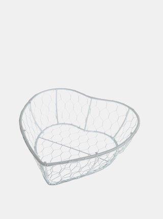 Bílý kovový košík ve tvaru srdce Dakls