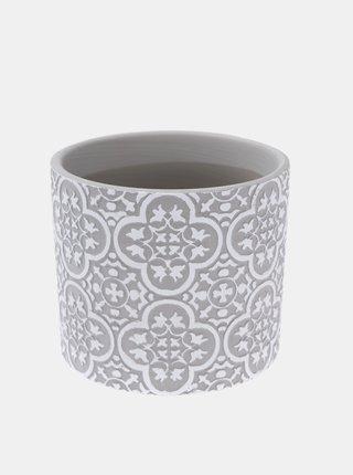 Šedý keramický kvetináč Dakls