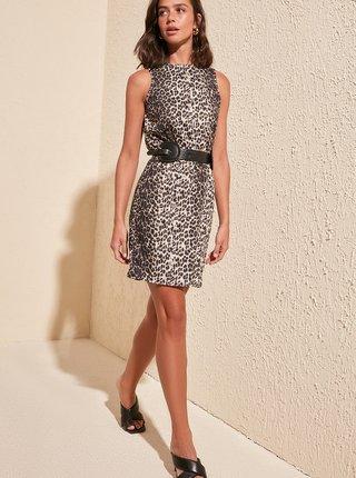 Svetlohnedé šaty s leopardím vzorom Trendyol