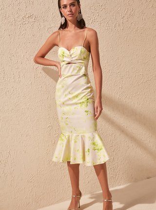 Žlté vzorované šaty Trendyol